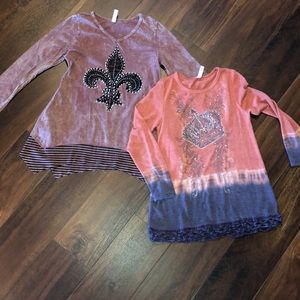 2 Embellished Long sleeve T's